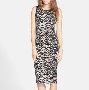 Pink Tartan New Leopard Animal Print Bodycon Dress